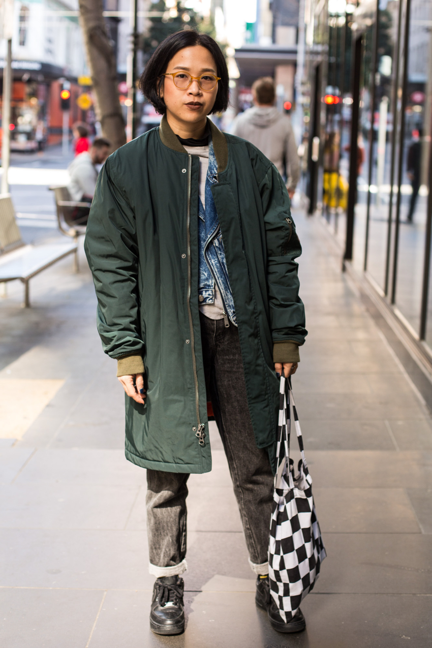 "Street Style Australia - VIC: Kawita Narkthubthee, Little Bourke St, Melbourne. ""I mix and match."" Photo: Zoe Kostopoulos"