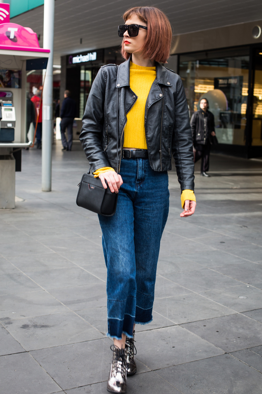"VIC: Rachel Jones, hairdresser, Bourke St Mall, Melbourne. ""Quirky, colour block, fashion 'don'ts' and make them work."" Photo: Zoe Kostopoulos"