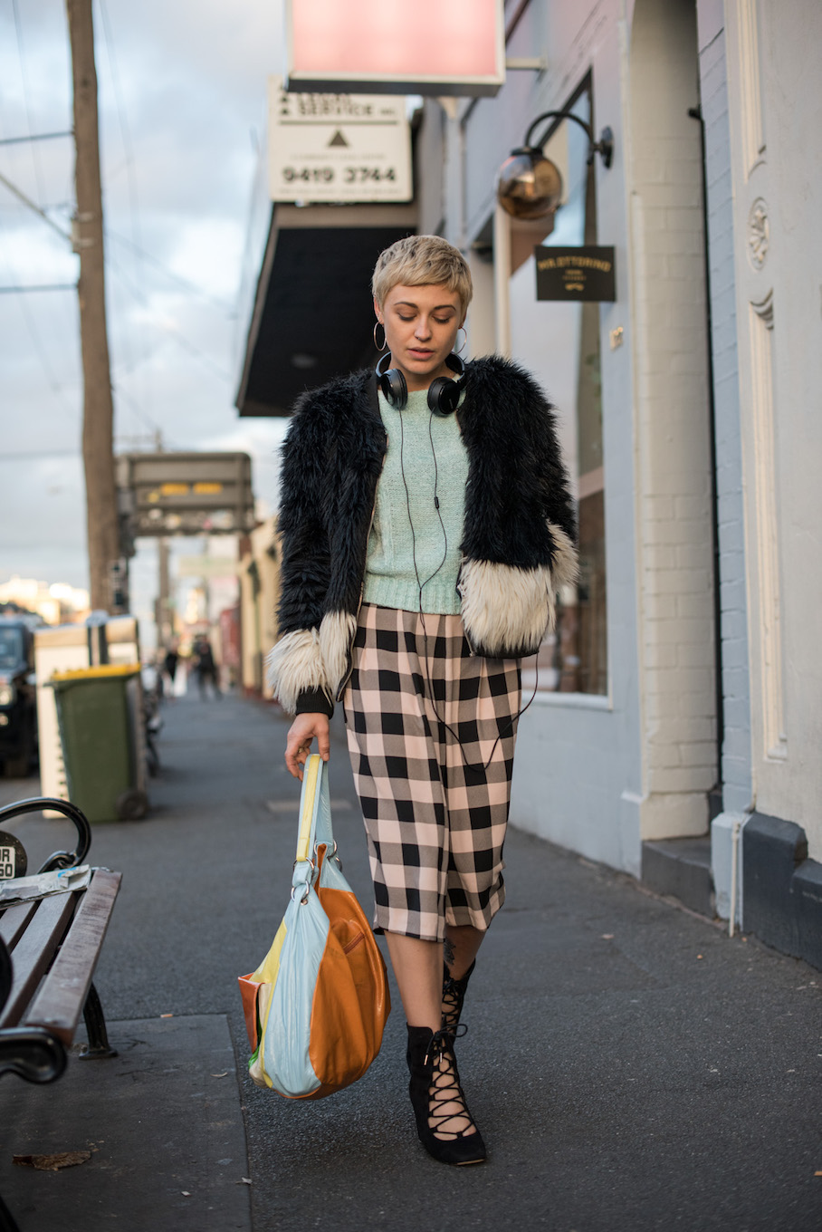 "Vic: Kelly Thomas, Stylist & Jacket Designer, Fitzroy. ""I am an English mash-up of thrift and customised clothing, probably best described as 'organised chaos'."" Photo: <a href=""http://frederiquemadi.com/"" target=""_blank"">Frédérique Madi </a>"