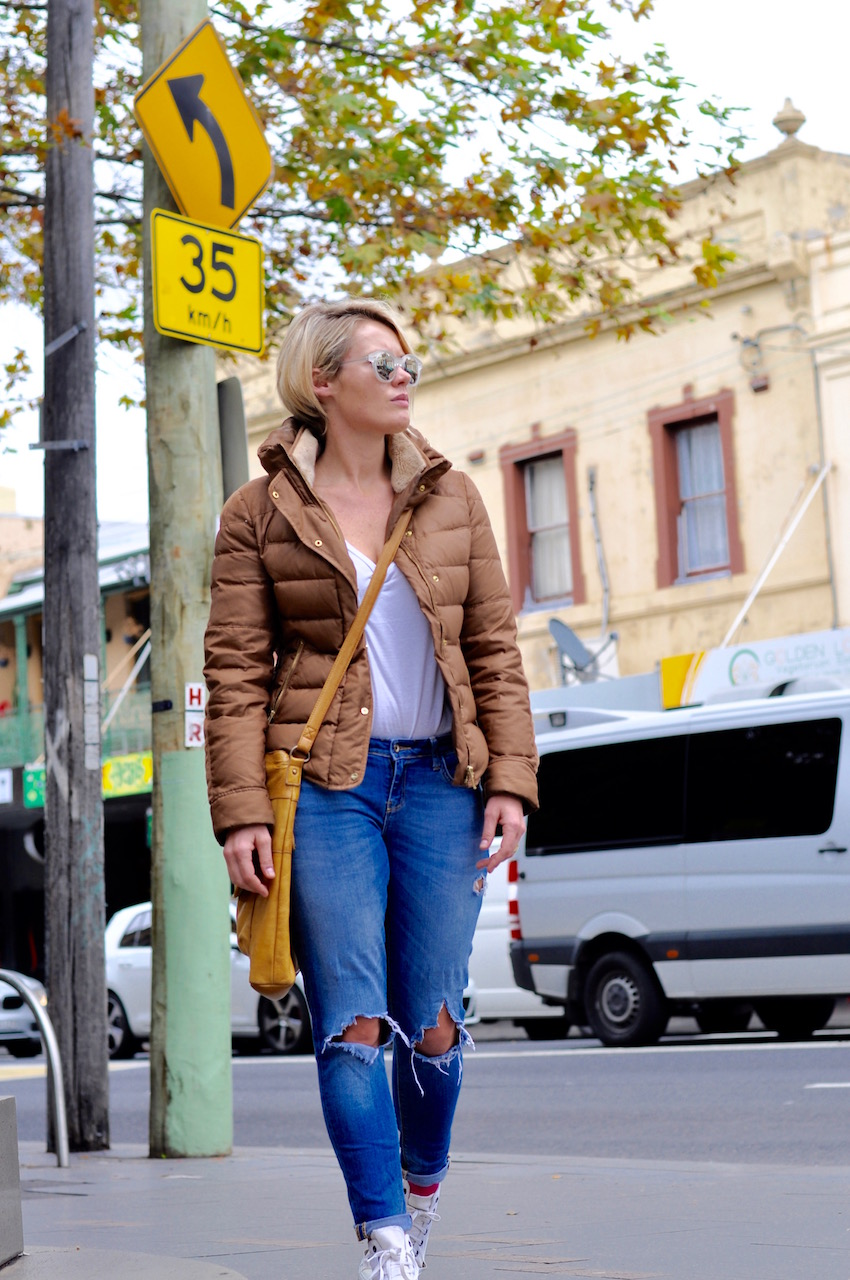 "NSW: Alicia, HR, King St Newtown. ""I tend to go for jeans, tees and trainers."" Photo: Stacey Pallaras"