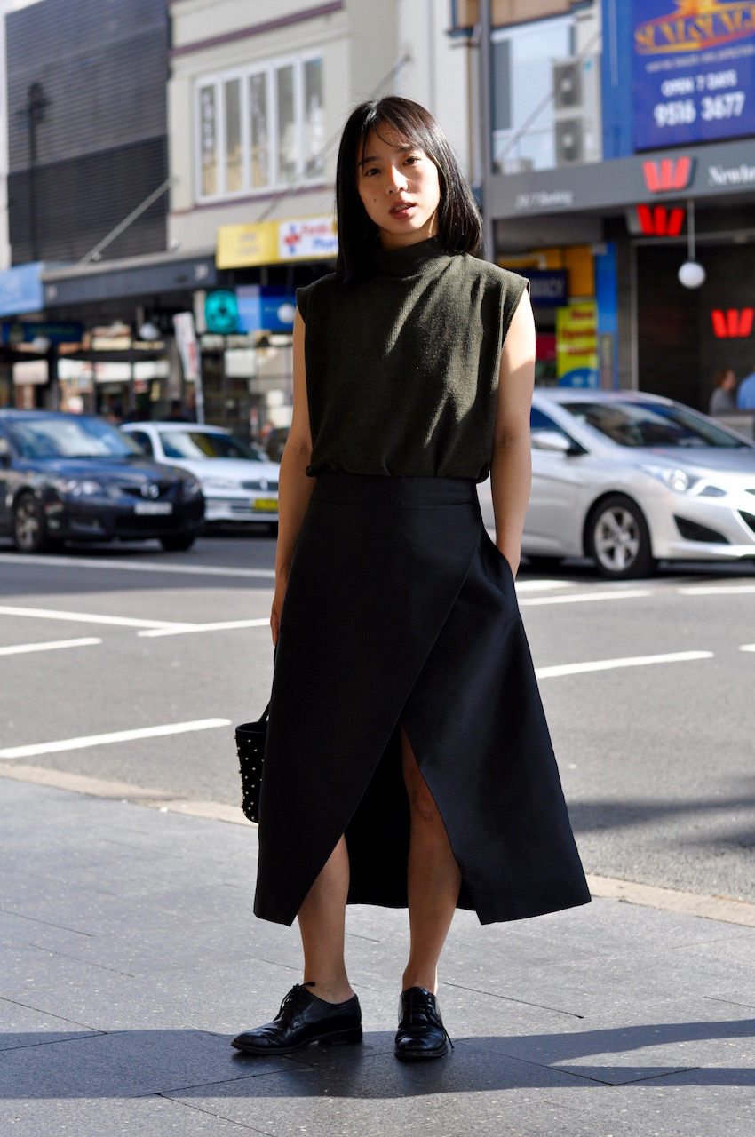 "NSW: CJ Chen, marketing manager, King St Newtown. ""Black is the new sexy."" Photo: Stacey Pallaras"