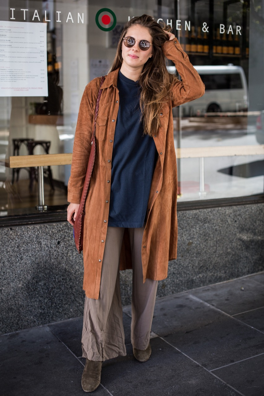 """VIC: Lucie Timonier, student, Flinders Lane. """"Menswear on women with a hippy touch."""" Photo: Zoe Kostopoulos"""