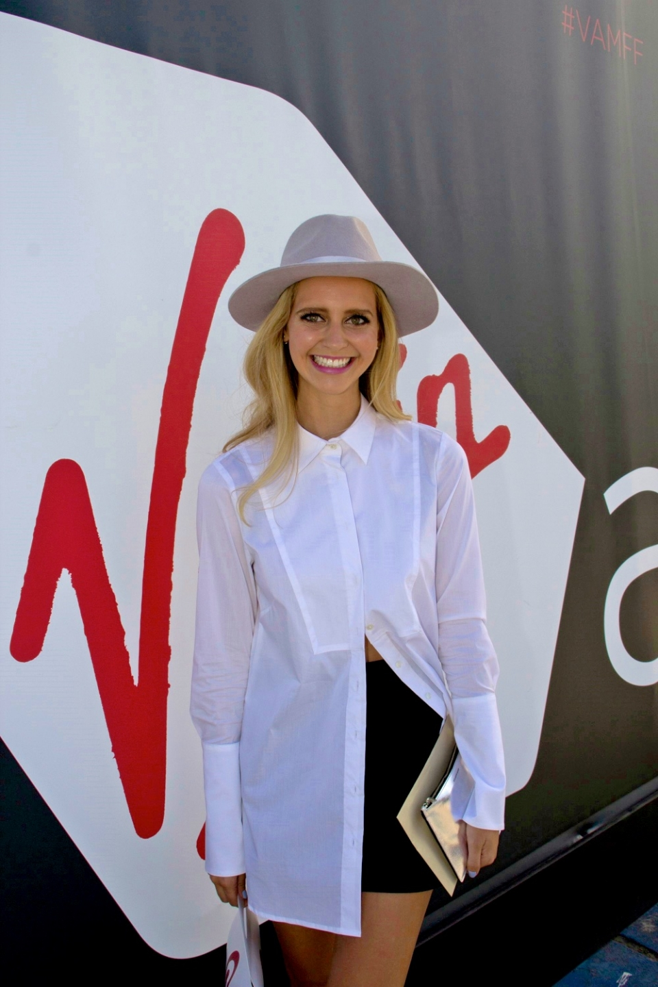 Vic: Suusha Burns, spotted at the Virgin Australia Melbourne Fashion Festival, Docklands by Les Brown.