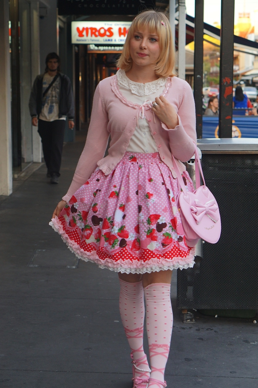 "SA: Kelly Scott, dressmaker, Rundle St East, Adelaide. ""I,m waring Japanese Sweet Lolita fashion."""
