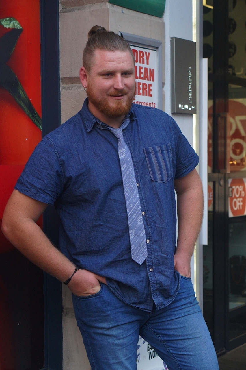 "SA: Boris Yaroslvceff, tradesman, Rundle St, city. ""My tie's from Myer and my shoes are Doc Martins."""