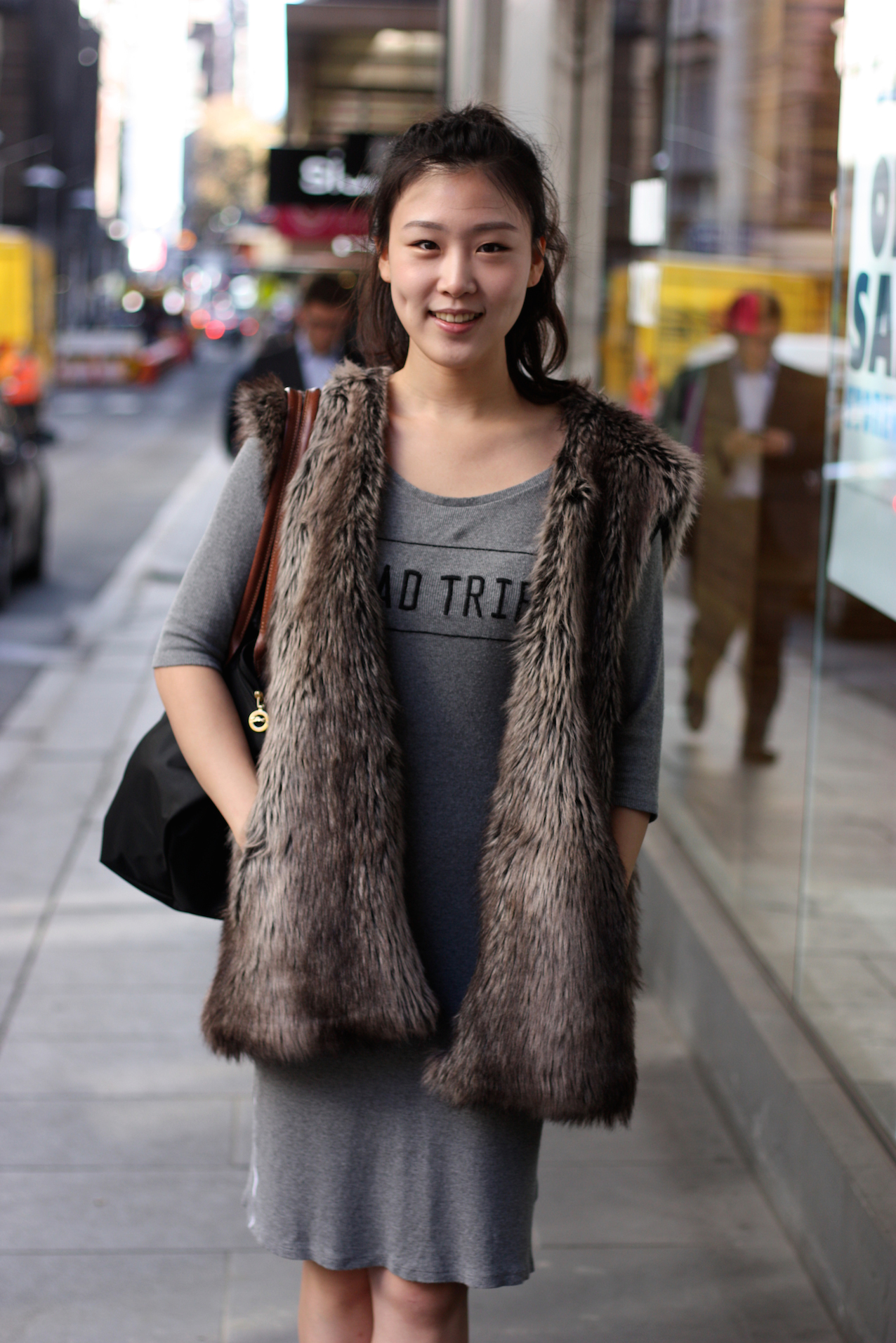 "VIC: Suyeong Kim, crew, Little Collins St, Melbourne. ""I dress for comfort and have a ""fur"" style love. "" Photo:  <a href=""http://www.marythamphotography.weebly.com/"">Mary Tham.</a>"