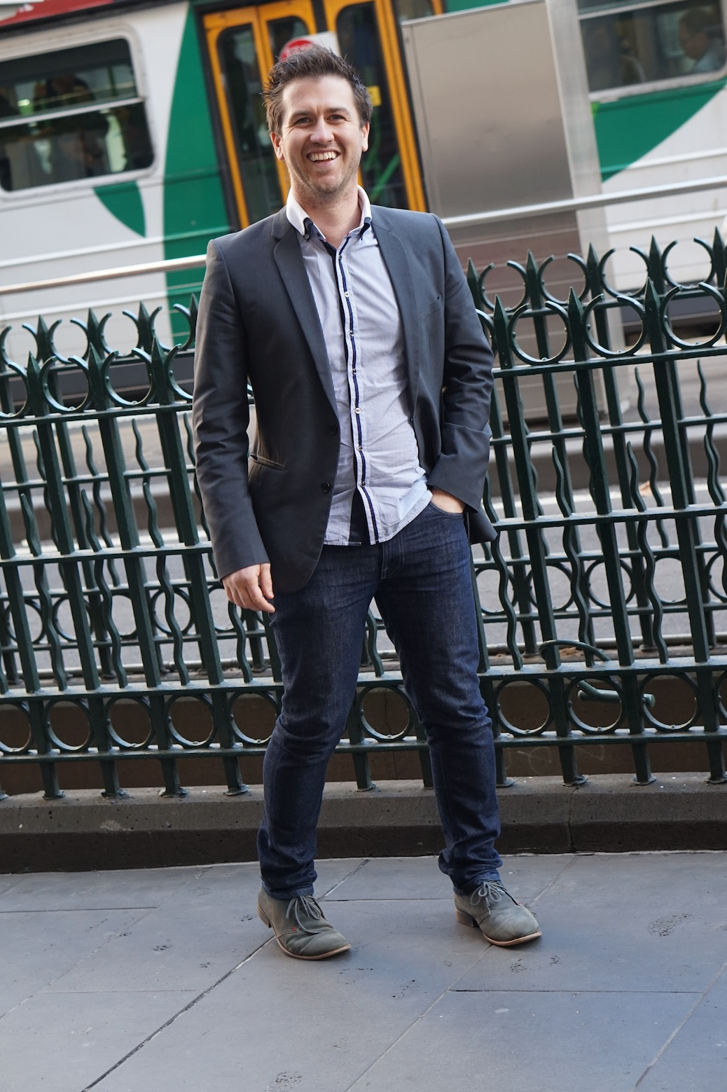 "VIC: Heath Evans, campaign manager – World Vision. Elizabeth St, Melbourne. ""My style is smart casual."""