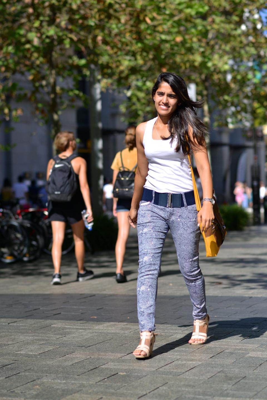 """WA: Vinha Arne, student, Perth CBD. """"I like casual, elegant and eye-catching wear"""". Photo: Alan Wu"""