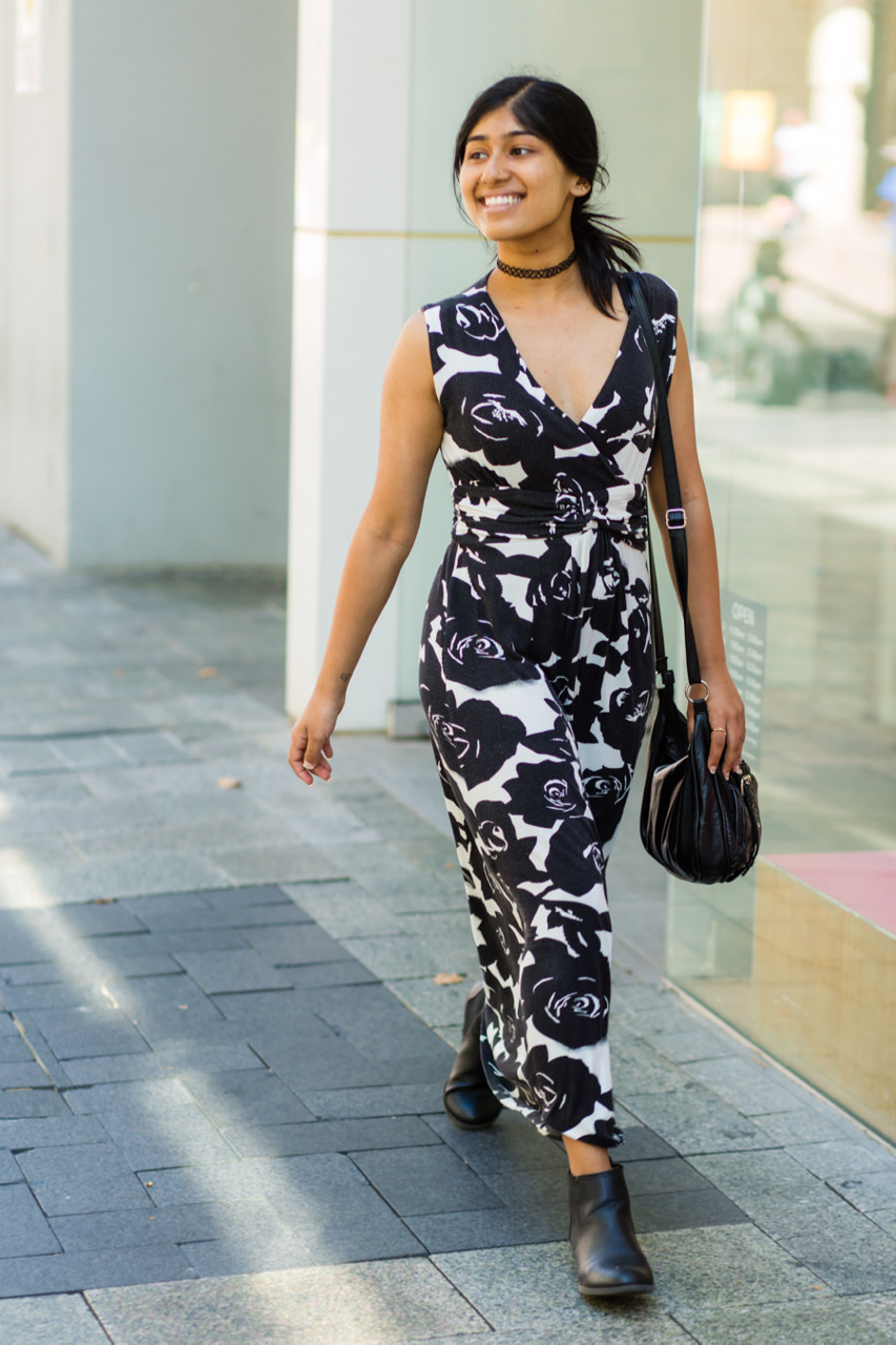 "WA: Shrutika Rana, Student, Murray St, Perth. ""I guess I'm a dresses kind of girl."""