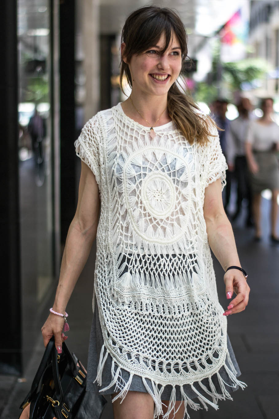"NSW: Roxane Uzureau, Designer, Sydney CBD. ""If the shoes and bag suit, then the outfit's a tout-bon."" Photo: Alie Sciberras"