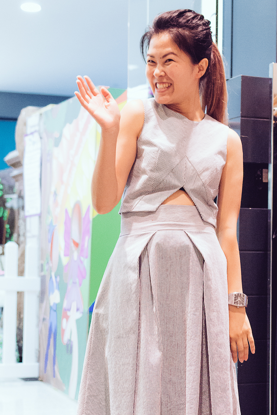 """SA: Hue Le, Designer, at Christmas Drinks put on by Fashion Concept, Rundle Place. """"Hi there!"""" Photo: Dimitra Koriozos"""