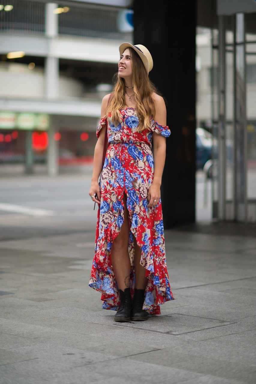 "SA: Hannah Lally, student, Rundle Mall. ""I love the florals and bright colours - especially on a rainy, shitty day!"" Photo: Eli Francis"