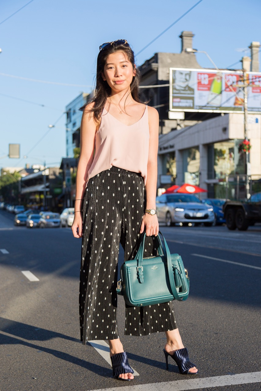 "VIC: Joselle Singson, Toorak Rd. ""My style is just whatever floats my boat that day! I'm into loose fitting, drape stye clothes at the moment; lots of polka dots and prints."" Photo: Libby Matson"