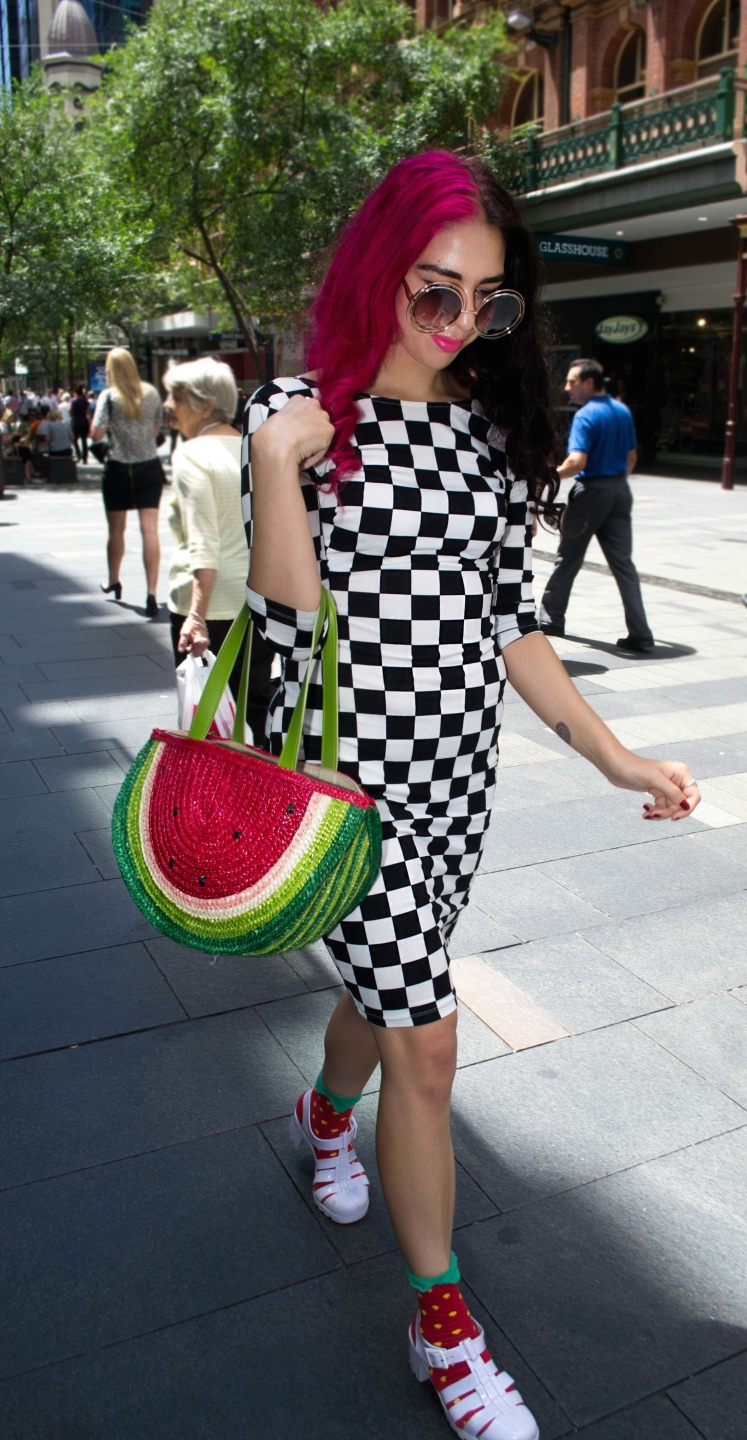 "NSW: Elleni Canaris, student intern spotted in Pitt St by Alice Scsiberras. ""I dress happy."""