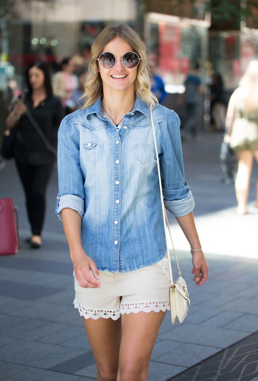 "NSW: Jessica, Pharmacy Assistant, Pitt St Mall. ""I wear what's comfy and functional."" Photo: Alice Sciberras"