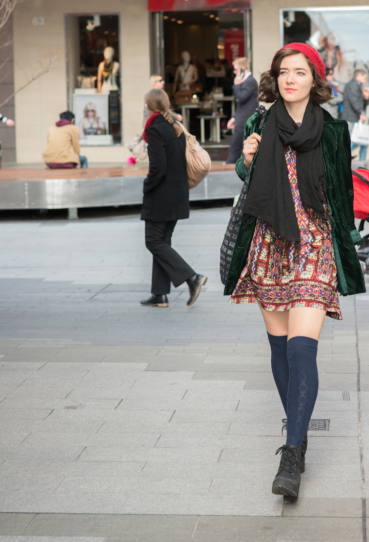 "SA: Charlie Kelso, Singing teacher & student, Rundle Mall. ""My style is eclectic and vintage inspired"". <a href=""http://www.foxowlphotos.com/"" target=""_blank""> Photo: John Wilson </a>"