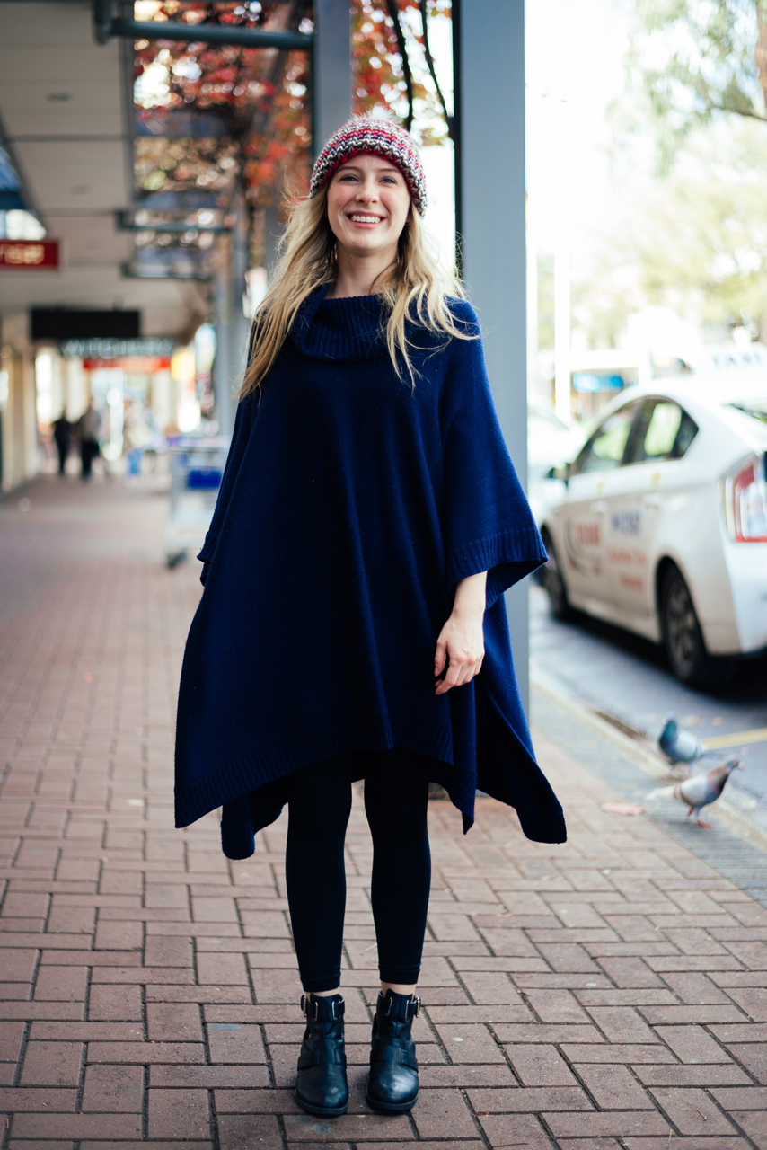 "SA: Charley Harrison, Sales, The Parade, Norwood. ""I chucked this on because usually I'm a slouchy-style sort of girl, but I love adding colour to anything!"" Photo: Dimitra Koriozos"