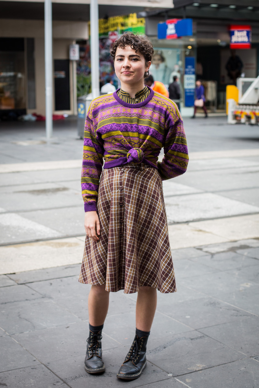 """Vic: Lydia Connolly-Hiatt, freelance dancer, Bourke St, Melbourne. """"I wear how I feel on the inside, whether its femme, masculine, or crazy, whatever."""" Photo: Zoe Kostopoulos"""