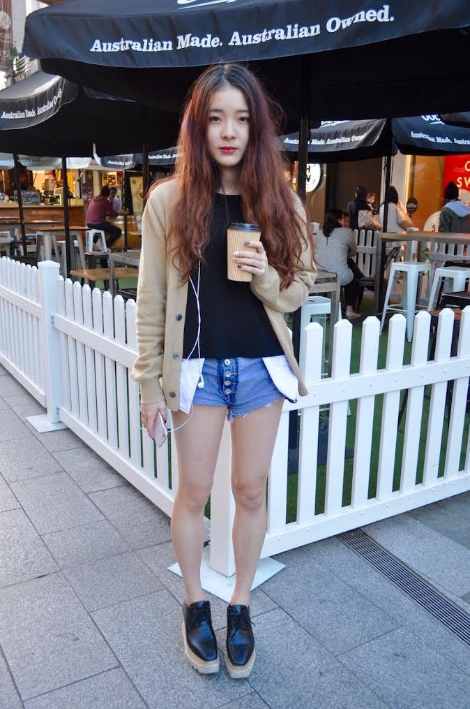 """SA: Mia Leng, Speech Pathology student, Adelaide. """"I like short shorts."""" Photo: Stacey"""