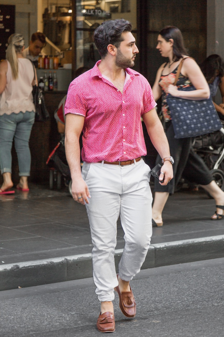 """VIC: Patrick Merola, retail assistant, Little Collins St. """"I like to add individuality with accessories."""" Photo: Libby Matson"""