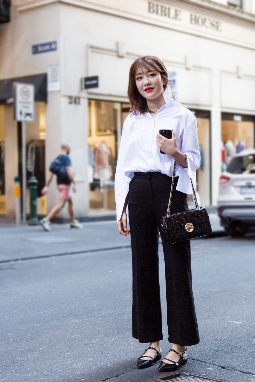 "VIC: Megan Kim, Flinders Lane, Melbourne. ""I like mature, simple styling."" Photo: Libby Matson"