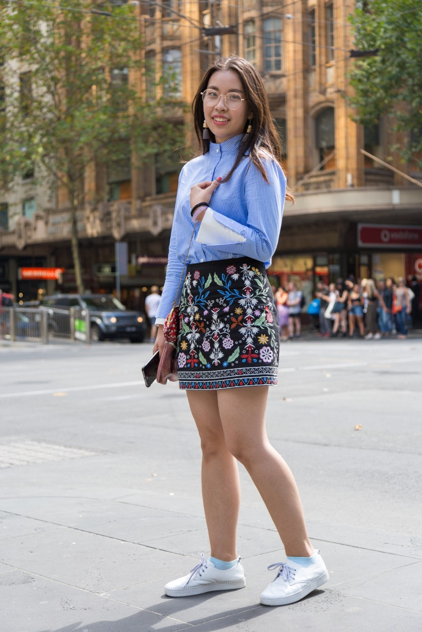 """VIC: Vicki, student, Collins St. """"I dress in appropriation to what I do - student."""" Photo: Libby Matson"""