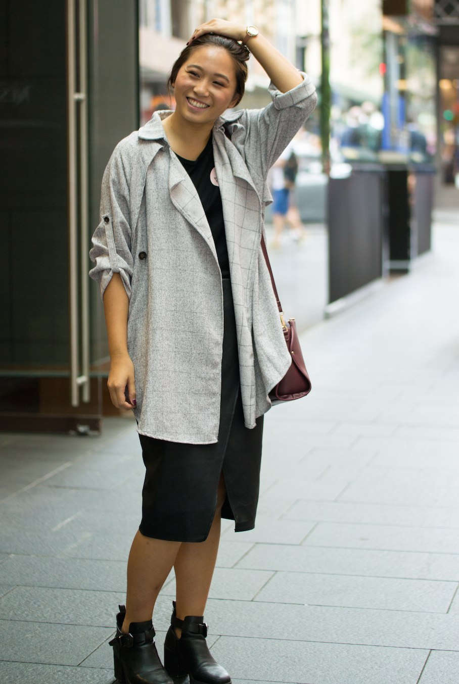 "NSW: Kim, Pham, Retail, spotted outside Nespresso in Pitt St Mall by Alice Sciberras. ""I""d describe my style as comfortable yet classy."""