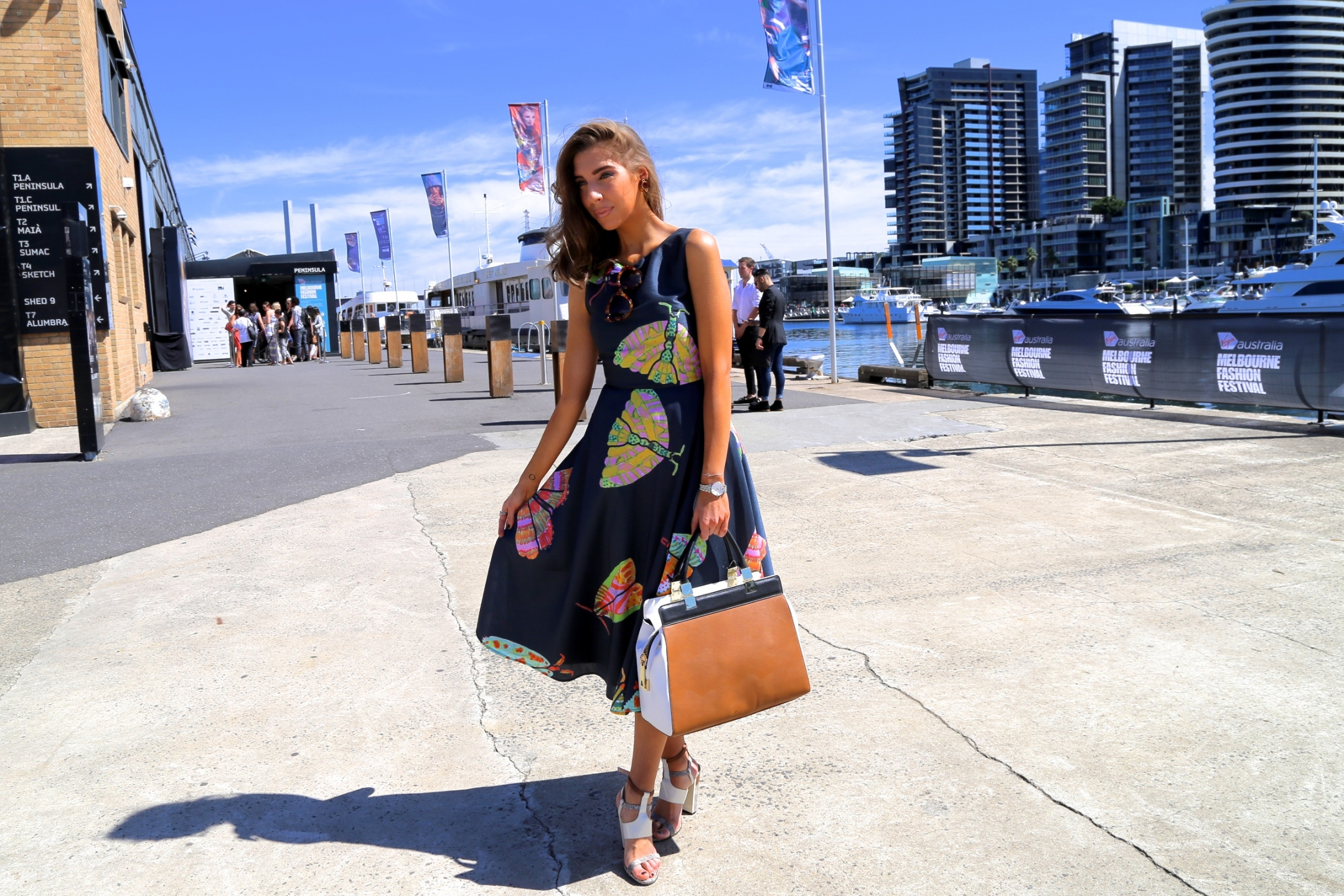 Vic: Alexia Petsinis, Docklands, at  the Virgin Australia Melbourne Fashion Festival.