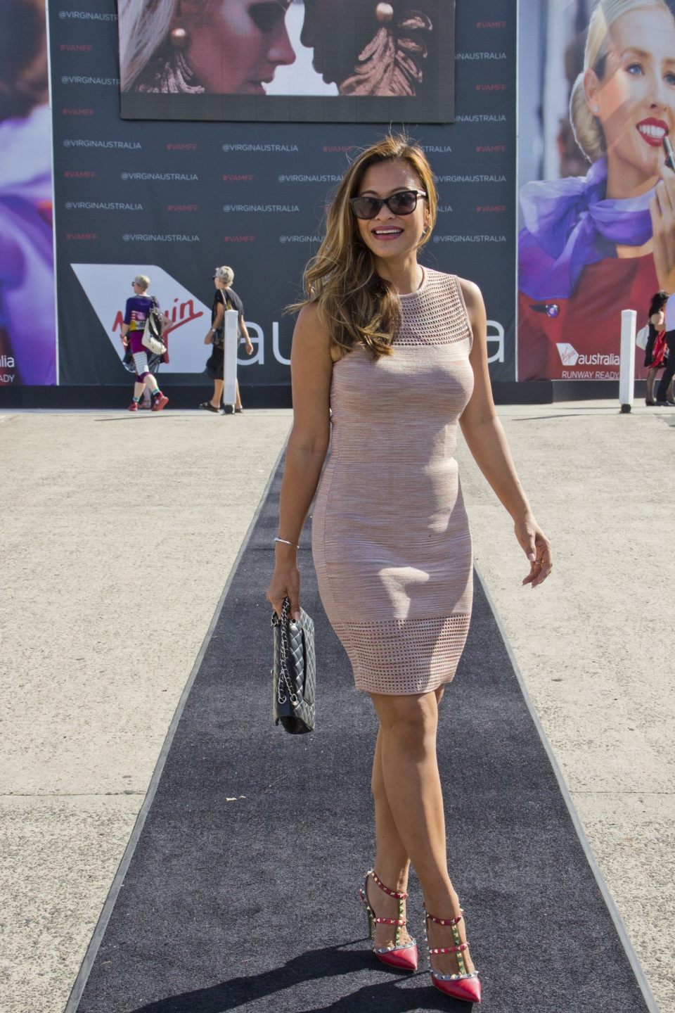 Vic: Tiur Bouchaud, fashion designer, at the Virgin Australia Melbourne Fashion Festival Docklands. Photo: Les Brown.