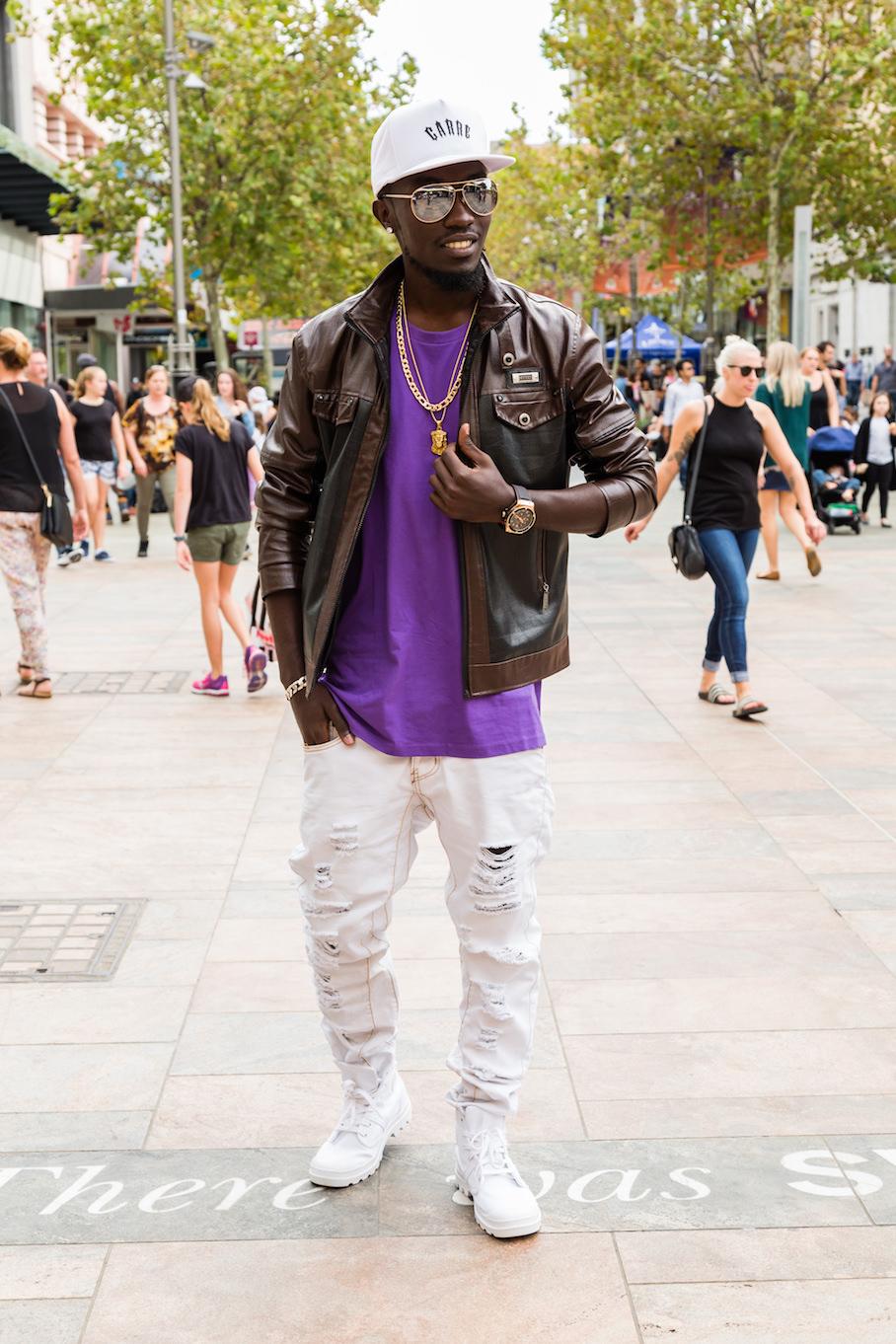 "WA: Jeremie Asimwe, Security, Perth CBD. ""I like cool."" <a href=""http://www.rahstudios.com.au/street-style.html/"" target=""_blank"">Alain Quah</a>"