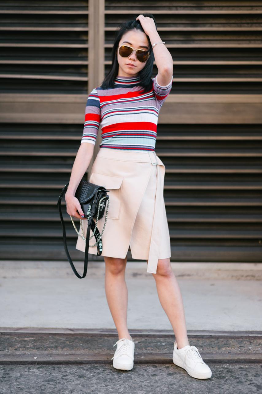 "NSW: Alvina Tam, Blogger at Fashion Week Sydney. ""My style's 'casual comfort'."" Photo: Dimitra Koriozos"