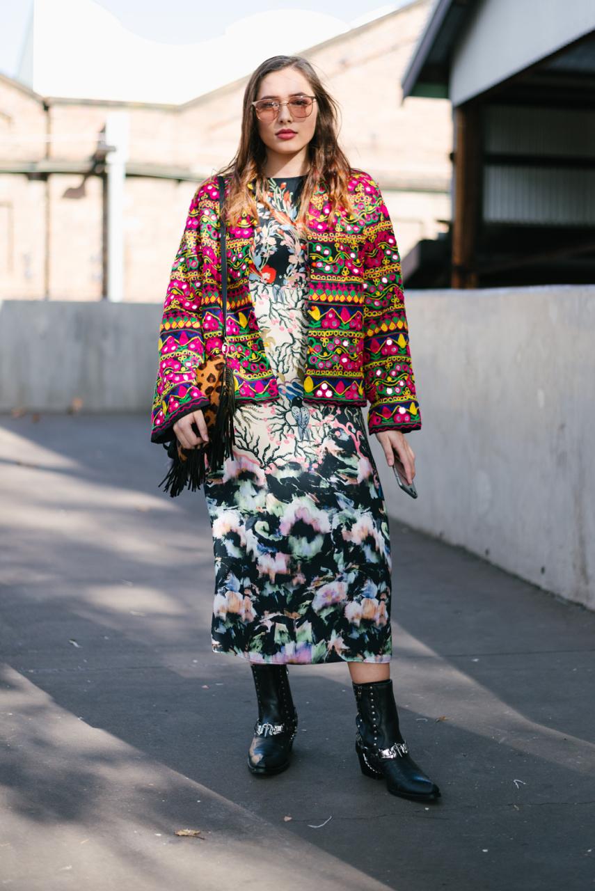 NSW: Cassie Hewitt, Fashion Student, at Fashion Week Sydney. Photo: Dimitra Koriozos
