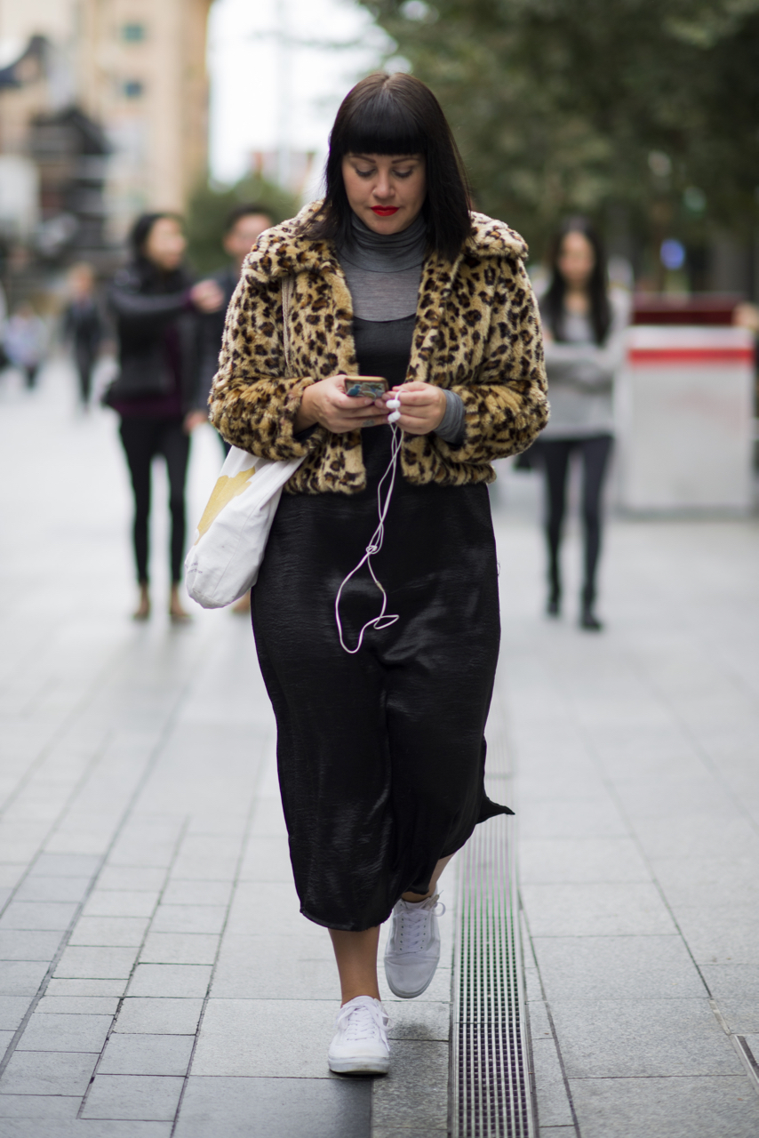 """SA: Steph Berndt, retail manager, Rundle Mall Adelaide. """"I'm en route to the Medieval Fair - keeping cosy."""" Photo: Eli Francis"""