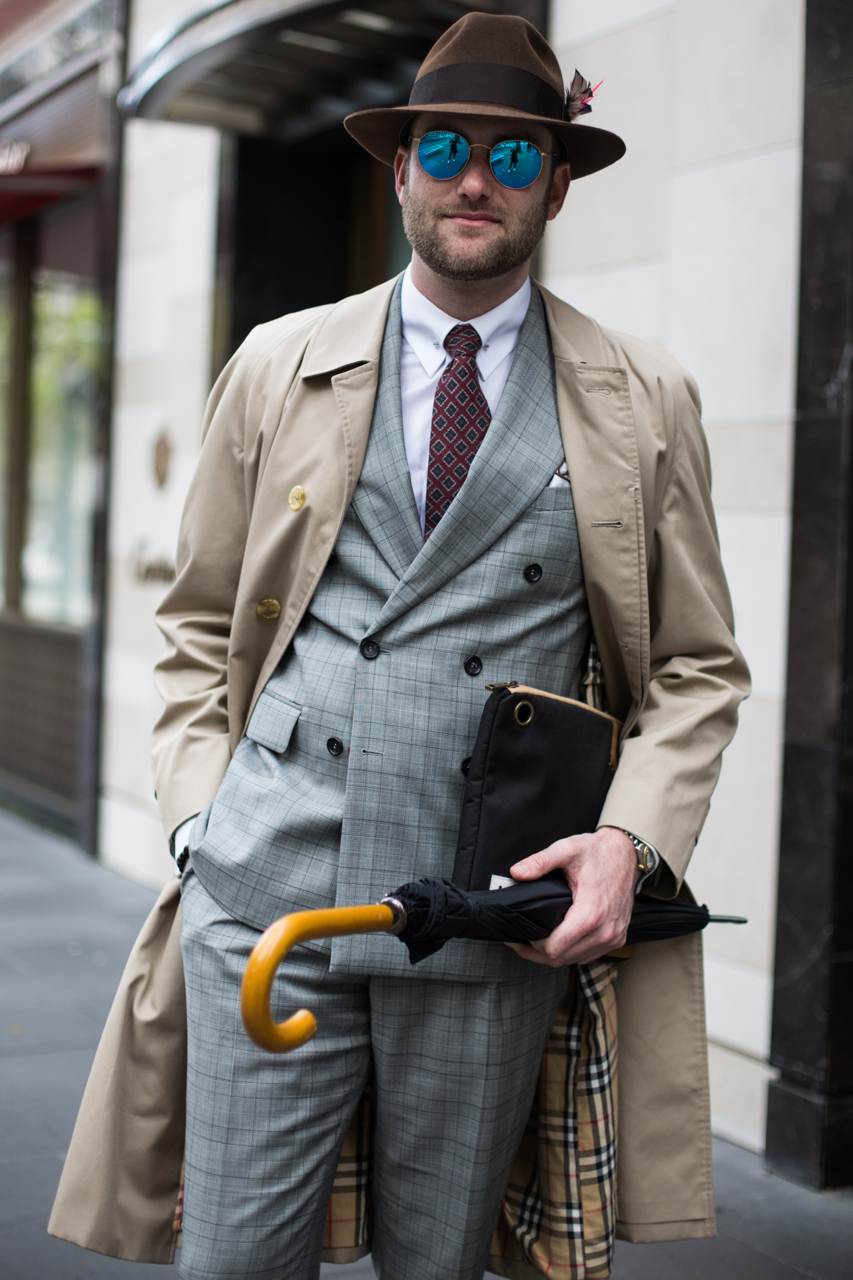 """VIC: Sam Diamond, Collins St. """"Showing style is a way of putting yourself out there. It's a way of communicating who you are without speaking."""" Photo: Zoe Kostopoulos"""