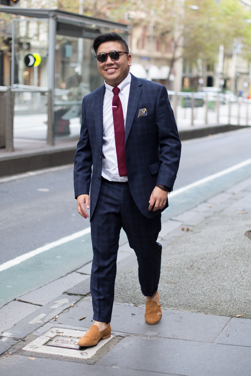 """VIC: Johnny Li, IT and founder of Dappertude, Collins St. """"A mix of Italian and British styling."""" Photo: Zoe Kostopoulos"""