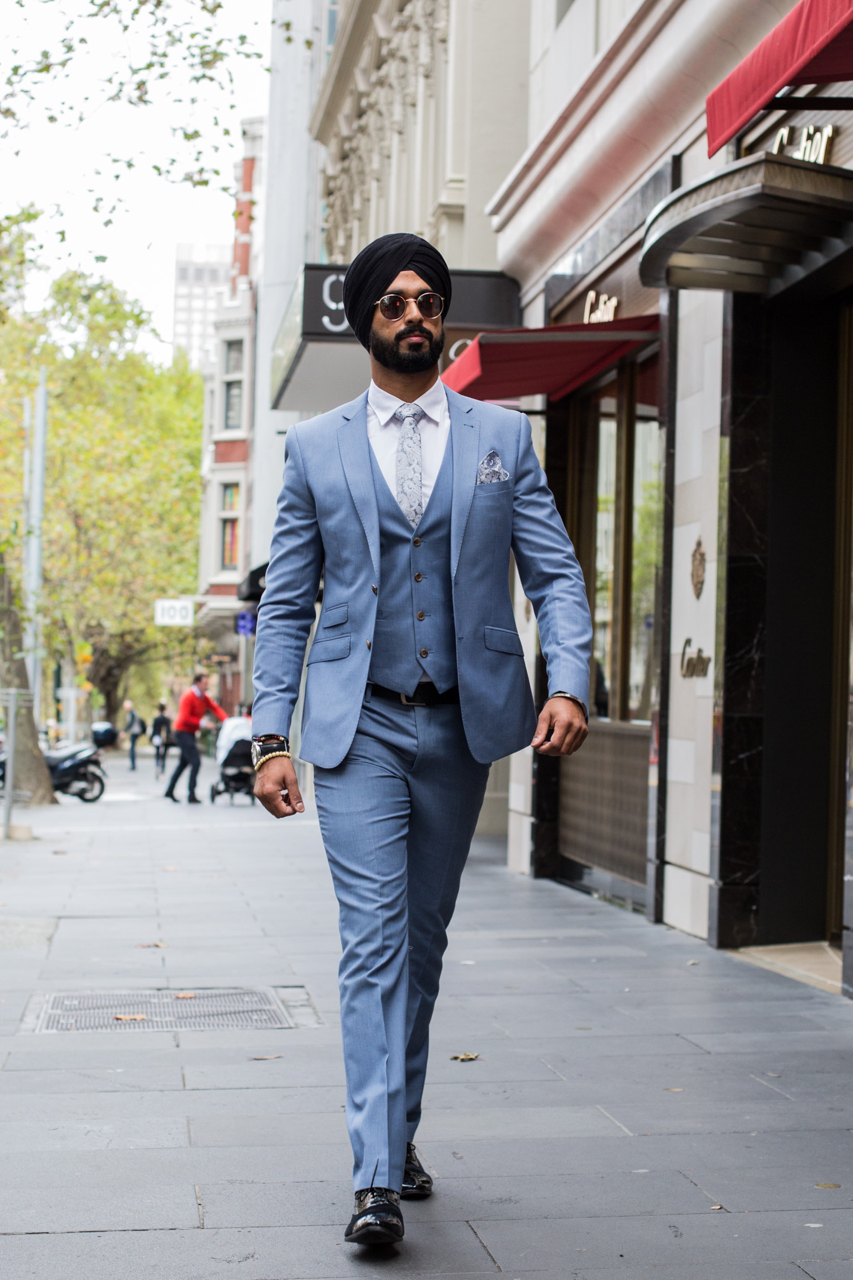 """VIC: Manpreet Singh, Collins St. """"First Sikh fashion influencer from Melbourne."""" Photo: Zoe Kostopoulos"""