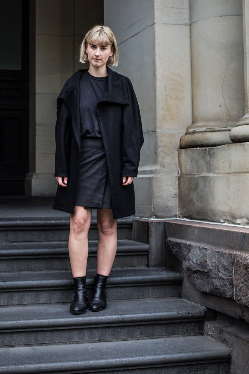 """VIC: Harriet Gregory, flight attendant, Elizabeth St. """"I tend to dress to my mood…usually black, I can be quite boring I guess."""" Photo: Zoe Kostopoulos"""