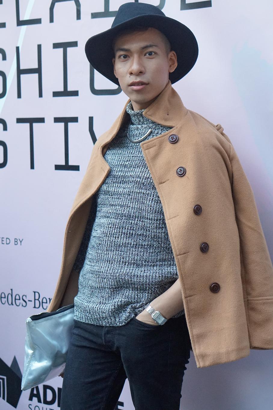 "SA:  Stan Tee, student, at Hindmarsh Square for the Adelaide Fashion Festival. ""I love fashion!"""