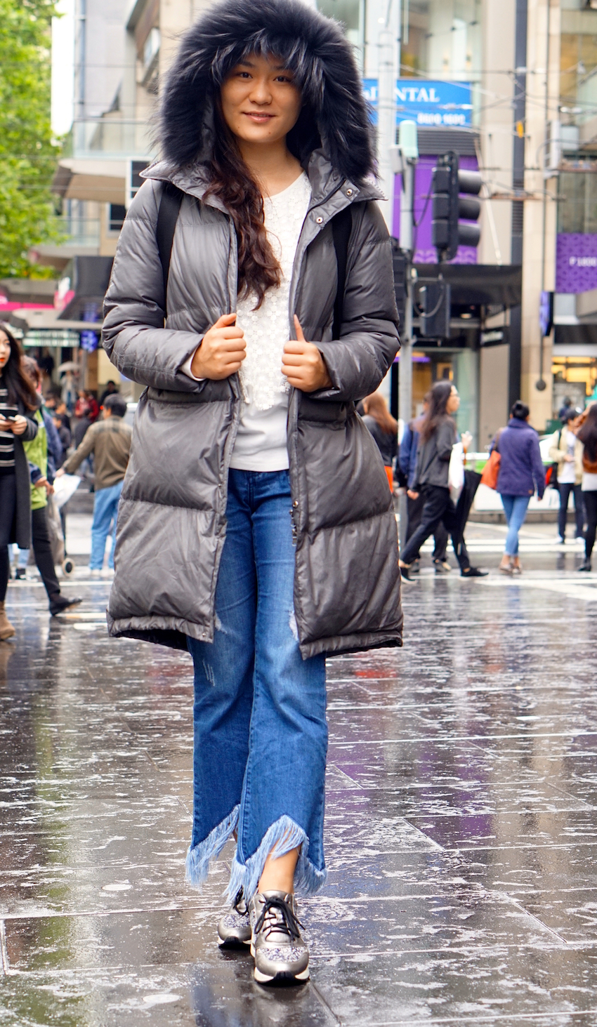 """Vic: Catherine, Bourke St Mall. """"This is one of my favourite coats."""""""
