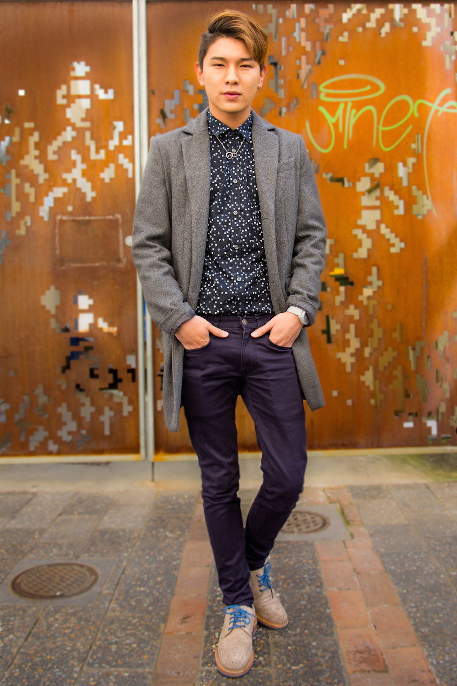 """SA: Cyril, student,  Adelaide CBD. """"Express your style by styling, not through words!"""" Photo: Vueey Le"""