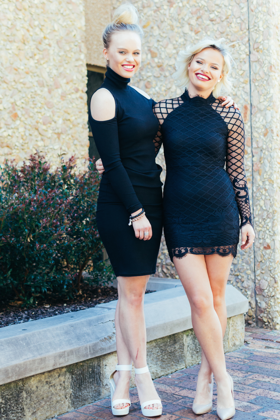 """SA: Sisters Renee (L) """"I like to dress chilled-out"""" & Sarah-Jane Kluske: """"I like classy style with a bit of an edge."""" North Terrace. Pic: Dimi Koriozos"""