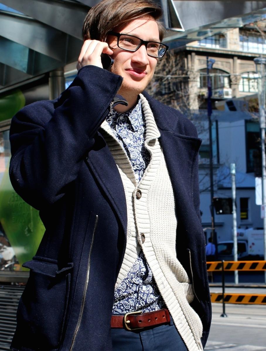 "Vic: Reuben Sady, Copywriter, Melbourne Central. ""Iam a sucker for a nice sweater."" Photo: Tracie Sullivan"
