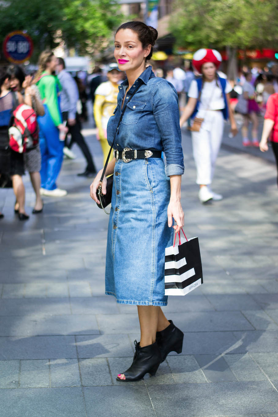 """NSW: Julianne Mosis, Skin Therapist, Pitt St. """"My style depends on how the weather makes me feel."""" Photo: Alice Scriberras"""
