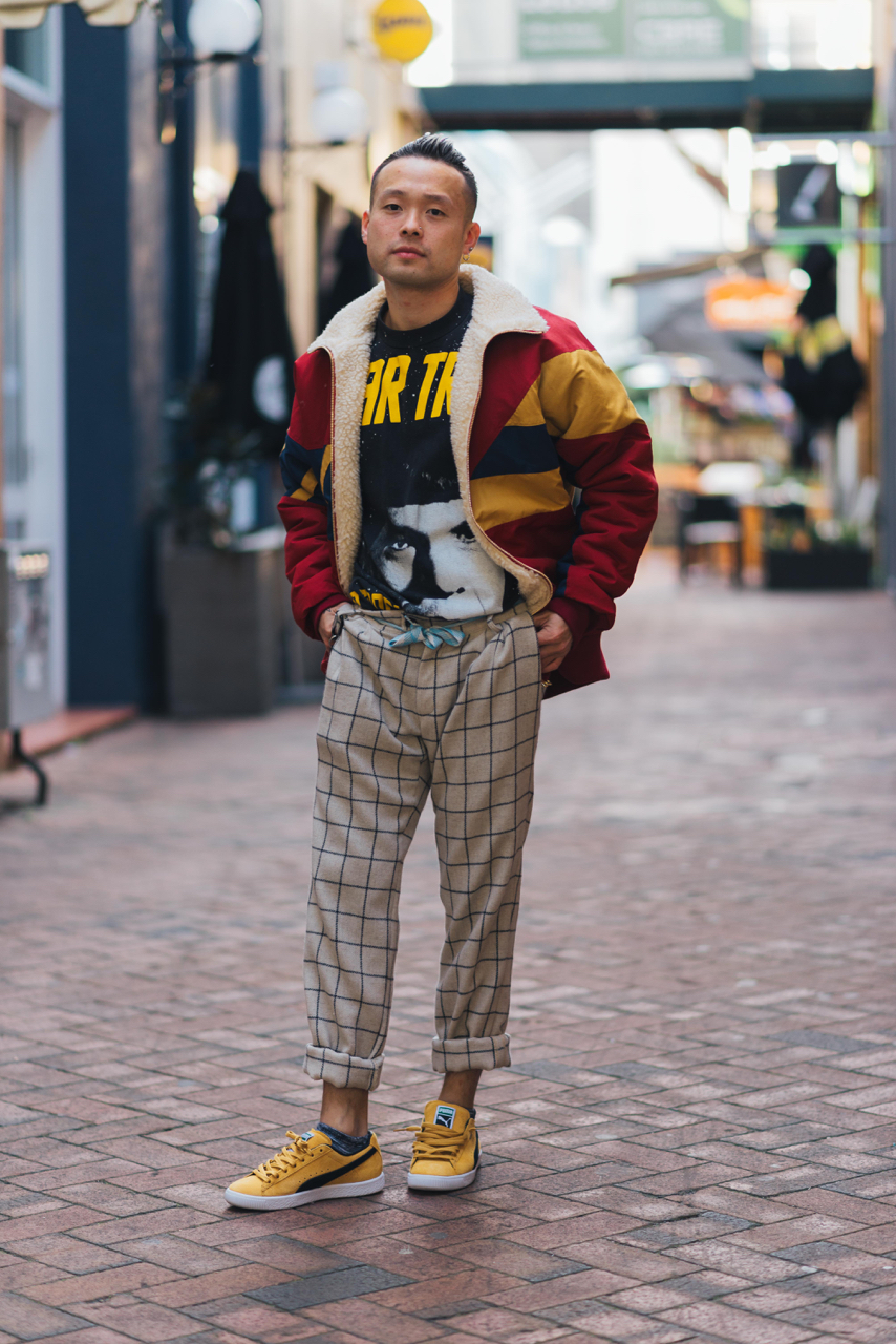 "WA: Ed, Stylist, Perth. ""I'm wearing a vintage Star Trek T-shirt, Aimé Leon Dore jacket, and Puma kicks."" Photo: Dimitra Koriozos"