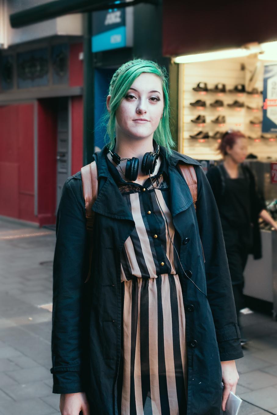 "SA: Mikaela Vlasic, professional art student, James Place, Adelaide. ""I'm Green. Very green."" Photo: Dimitra Koriozos"