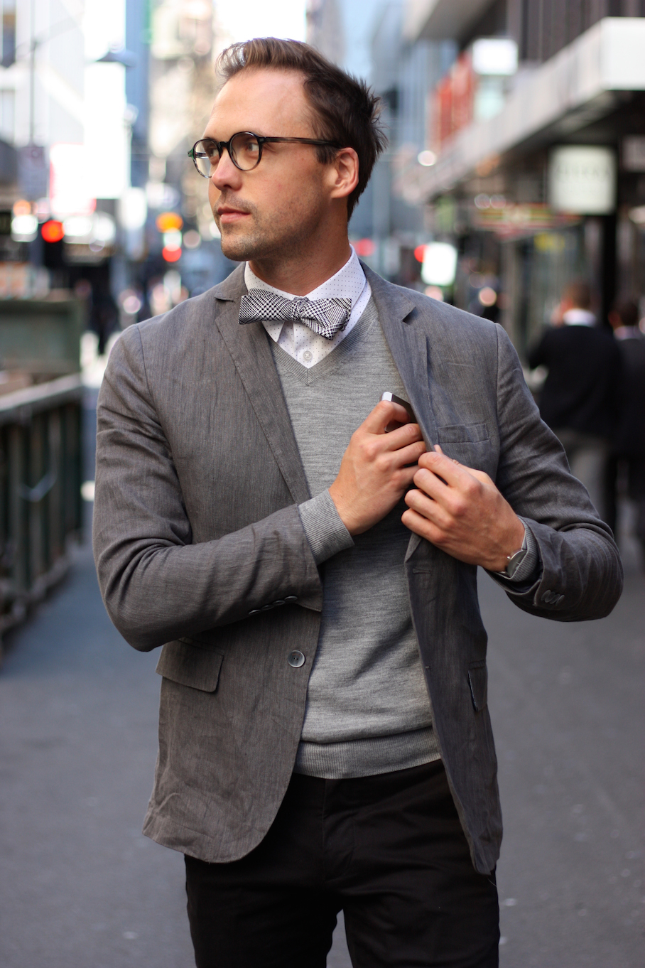 """Vic: Adam Birch, Urban Planner,  Little Collins St, Melbourne. My style's sartorial fun, preppy, monochrome."""" <a href=""""http://www.marythamphotography.weebly.com/"""" target=""""_blank""""> Photo: Mary Tham </a>"""