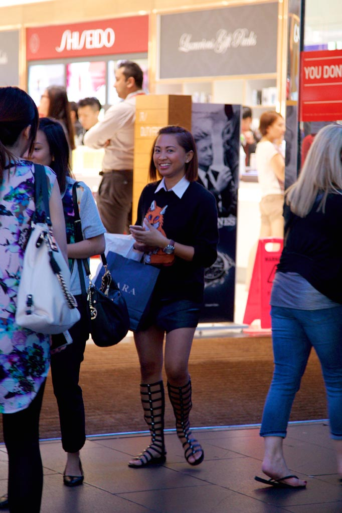 VIC: April Enriquez snapped by Rupert in Bourke Street Mall, Melbourne.