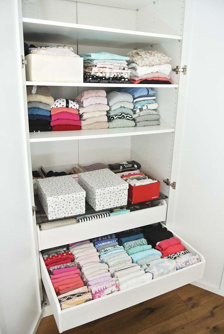 Womens fashion organised neatly inside wardrobe