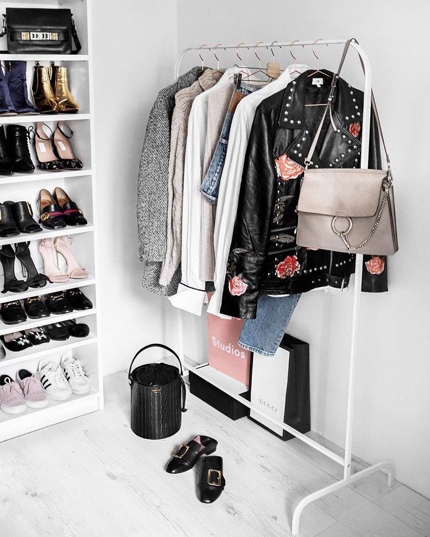 Neatly organised wardrobe
