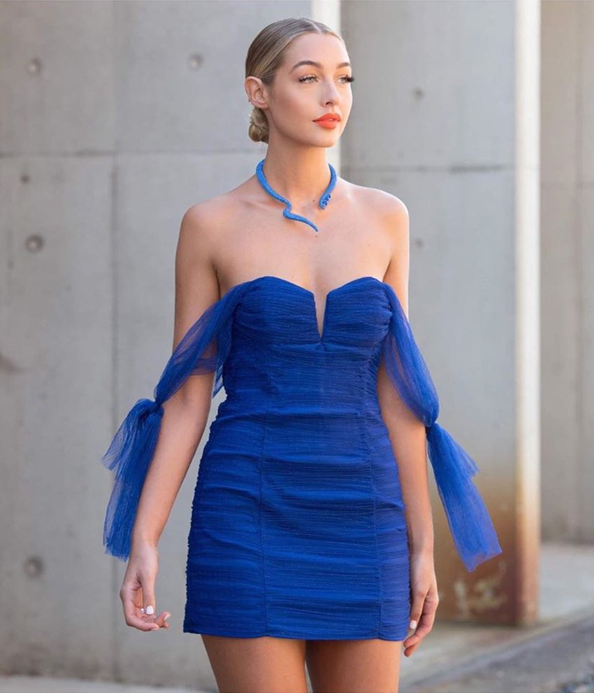 Alice Mcall Blue Tulle Cocktail Dress